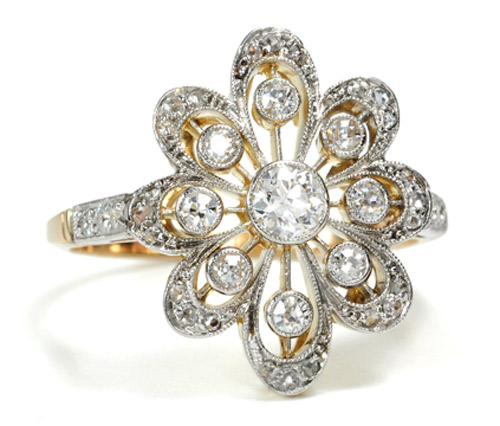 large rings with flowers