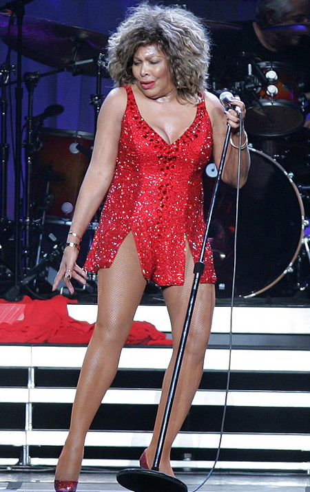 Tina Turner red dress 2014 6665