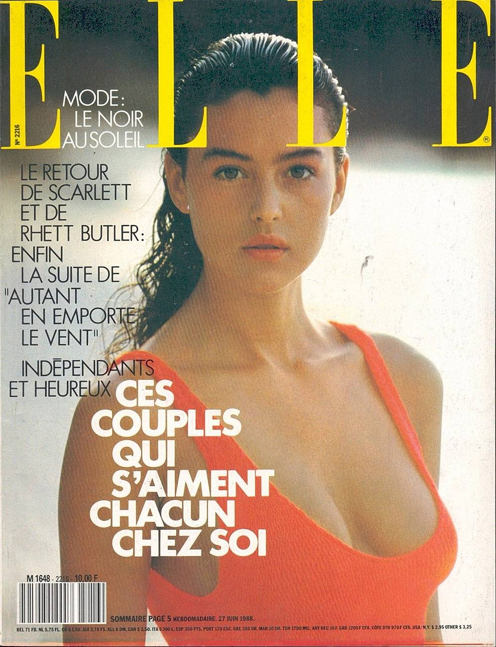 Моника Белучи на една от първите корици за Elle (1988)