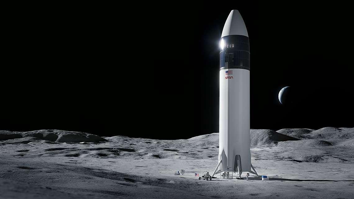Илюстрация на дизайна на спускателния апарат SpaceX Starship, който ще отведе първите астронавти на НАСА до повърхността на Луната по програмата Artem...