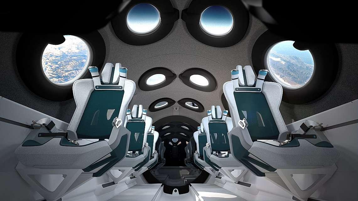 Интериор на кабината на космическия кораб на Virgin Galactic